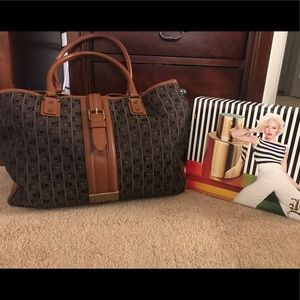 L.a.m.b. Jacquard brown leather computer tote bag